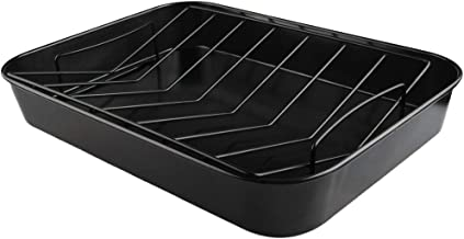 KAMaster Non-Stick Roast Pan with V Rack Chicago Metallic Big Green Egg Drip Pan Bakeware 15 by 11 by 2-1/4-Inch Roaster Perfect for Turkeys, Roasts, Lasagna and Large Casseroles