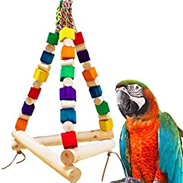 Colorful Parrot Cage Wooden Hanging Swing Chew Stand Perch Pet Bird Play Toy