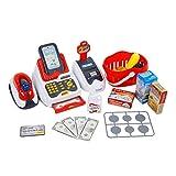 Toyvian Kassierer Spielzeug Registrierkasse Spielset Pretend Play Kassierer mit Scanner Spielgeld Und Spielzeug für Kinder Jungen Mädchen