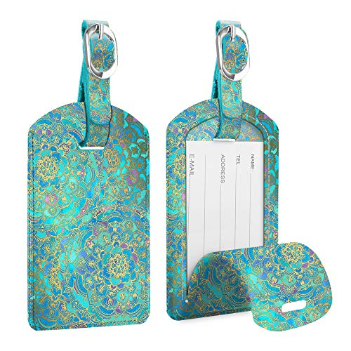 [2 Pack] Luggage Tags, FINTIE Synthetic Leather Name ID Labels with Back Privacy Cover for Travel Bag Suitcase, Shades of Blue