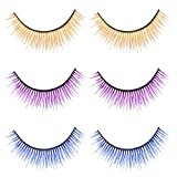 Minkissy 3 Pairs Color Eyelashes Reusable False Eyelashes 3d Mink Eyelashes Long Dramatic False Eyelashes for Women Girls Halloween Masquerade Party