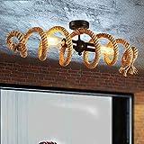 Vintage Ceiling Light Hemp Rope Light Retro Bedroom Rope Lamp Spiral Design Ceiling Lamp Industry Decorative Lamp E27 Socket 2 flame Max.60W Iron Ceiling Lighting for Dining Table Restaurant Bar L70cm