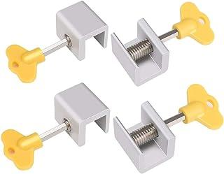 4Sets Adjustable Sliding Window Locks Stop Aluminum Alloy Door Frame Security Lock with Keys Home Office Safety window Lock