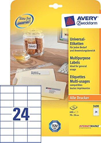 Avery Zweckform 3490 Doppelpack Universal-Etiketten, 70 x 36 mm, Geeignet für Deutsche Post INTERNETMARKE, 2x 25 Blatt/1.200 Etiketten, weiß