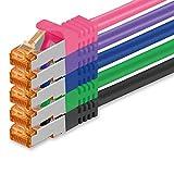 Cat7 Cable de Red Ethernet LAN - 0,5m - 5 Colores - 5 Piezas - 02 Cat...