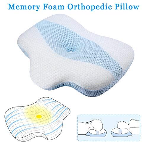 Famooklan Orthopädisches Kopfkissen aus Memory-Schaum, ergonomisch, für Tiefenschlaf und Halswirbelmassage, bidirektionales Nackenkissen Weiches Schlafkissen, entspannt die Wirbelsäule