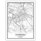 YUAN Leinwand Bild,Niederlande Nijmegen Stadtplan Schwarz