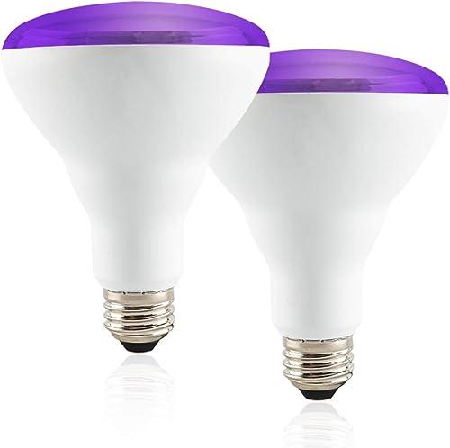 Yueximei 13W BR30 UV LED Black Light Bulbs,E26 Medium Base,UVA Level 390-395nm,Black Light Bulb Glow in The Dark for ...