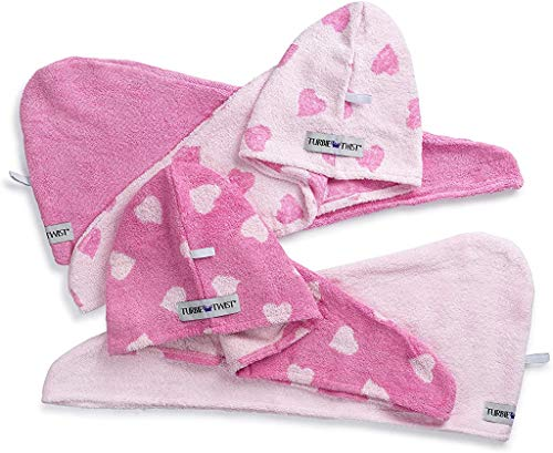 Turbie Twist Hair Towels Cotton (4 Pack) Pink Heart / Solid - Gift for Mom