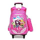 Mädchen wasserdicht Grundschule Trolley Rolling School Rucksack Schultasche mit Rollruck Grundschule Mädchen mit einem sechsrädrigen Koffer-Rosered