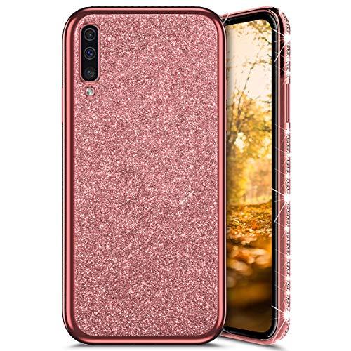 QPOLLY Cover Brillantini Scintillante Compatibile con Samsung Galaxy A50, Bling Glitter Diamante Morbida Silicone Gel TPU Gomma Bumper Custodia 360 Gradi Ultra Sottile Antiurto Cover,Oro Rosa