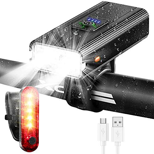 ORSJA Fahrradlicht - Led Fahrradbeleuchtung Set USB Wiederaufladbare Fahrradlampe mit Rücklicht Set,Super Akkulaufzeit & IPX 5 Wasserdicht, 1000 Lumen, Fahrradlampe Frontlicht für 6 Modi