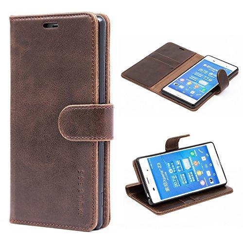 Mulbess Handyhülle für Sony Xperia Z3 Hülle Leder, Sony Xperia Z3 Handy Hüllen, Vintage Flip Handytasche Schutzhülle für Sony Xperia Z3 Case, Kaffee Braun