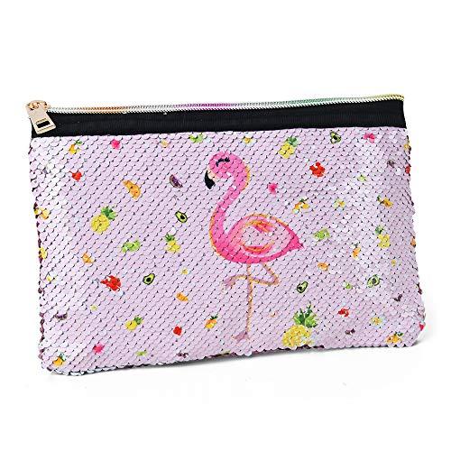 WERNNSAI Flamingo Zipper Bag - Reversible Sequin Pink Makeup Bag Cosmetic Pouch Sparkly Pencil Case Purse for Girls Women Portable Organizer Travel Gift