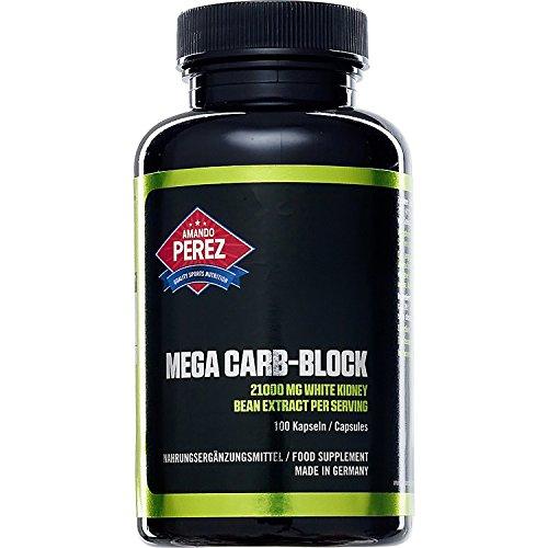 Mega Carb Blocker 21000 mg - 100 Kapseln - Hardcore Kohlenhydratblocker für fettfreie Muskelmasse