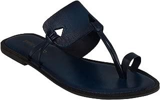 pelle albero Womens Blue Comfortable Flat Slippers