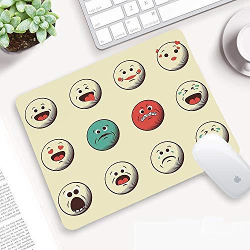 Alfombrilla Ratón 320x250 mm,Emoji, dibujos animados como caras sonrientes antiguas vintage con estam,Antideslizante e Alfombrilla goma Impermeable Ideal para Portátil, Teclado, Gaming Hogar y Oficina