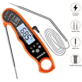 Meat Thermometer, NIXIUKOL Digital Cooking Thermometer with 2 Foldable Long Probe, Kitchen Thermometer