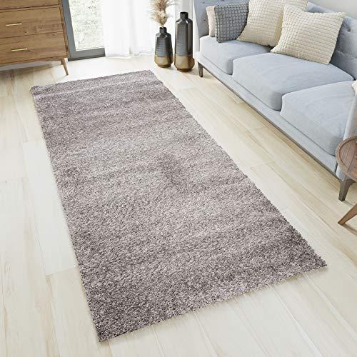 Tapiso OPTIMAL Teppich Läufer Shaggy Hochflor Langflor Grau Einfarbig Weich Modern Design Wohnzimmer Schlafzimmer Flur 120 x 160 cm
