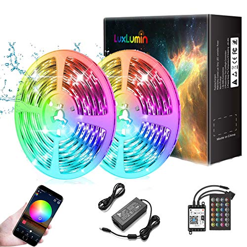 LuxLumin LED Strip Lights 32.8ft, WiFi Waterproof Dimmable led Light Strip with Remote, Color Changing Music sync led Strip Lights for Bedroom, APP Control,, Work with Amazon Alexa Google Assistant