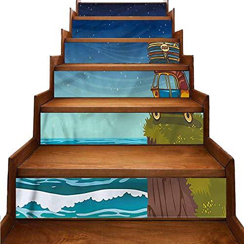 JiuYIBB Ocean - Adesivo tradizionale in PVC ecologico W 39' x H 7' x 6pcs Colore 06