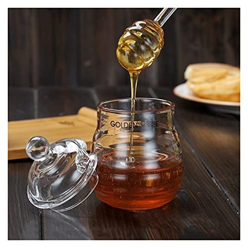 Tarra de vidrio transparente de la miel de cristal con vidrio de la tapa de la barra de agitación de la cinta de la miel de la miel de la miel de vidrio creativo frasco de vidrio de vidrio miel de mie