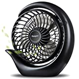 viniper Battery Operated Fan, Small Desk Fan : 3 Speeds & 8-24 Hours Longer Working, 180° Rotation, Optimised Portable USB Rechargeable Fan , Small but Mighty, Strong Wind (6.2 inch, Black)