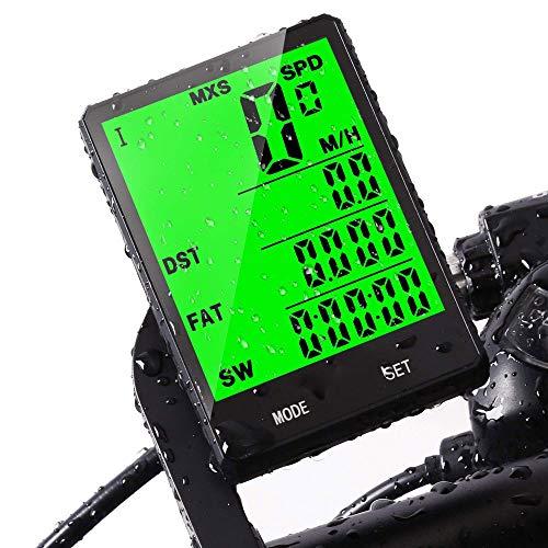 AXDNH Fahrradcomputer, 3-in-1 Fahrrad Kilometerzähler Mountain Road Radfahren Fahrradcomputer Wasserdicht Automatische Weck-up Pulsuhr (Wireless),Black