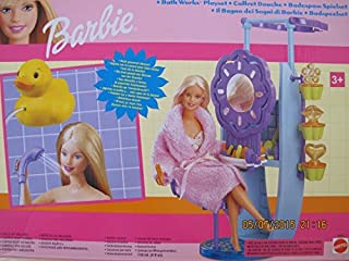 BARBIE BATH WORKS Playset w DUCK Powered SHOWER, Fun STAMPERS & More! (2000 Multi-Language Writing on Box)