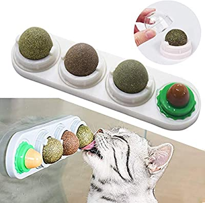 Malier Catnip Toy for Cats, Catnip Edible Balls Natural Rotatable Licking Treats Toys for Cats Kitten Kitty