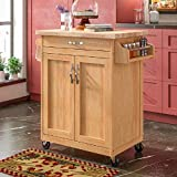 Homelity Mobile Kitchen Island Cart on Wheels, Small Rolling Cutting Board Island, Kitchen Island & Cart for Small Spaces with Solid Wood Butcher Block Top