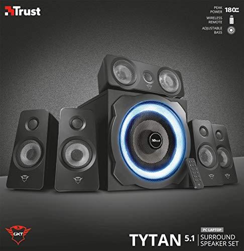 Trust Gaming GXT 658 Tytan 5.1 Surround PC-Lautsprecher Set mit Fernbedienung (180 Watt, LED Beleuchtung) Schwarz