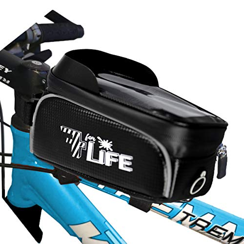 7ForLife - Fahrrad Rahmentasche {Wasserdicht} mit Handyhalterung für Smartphones/Handy bis 6,7 Zoll - Ideal für Navi mit Kopfhörer - Fahrrad Lenkertasche mit Touchscreen für perfekte Bedienung