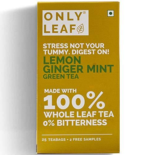 Onlyleaf Ginger Mint Lemon Green Tea Made with 100% Whole Leaf , 27 Tea Bags (25 Tea Bags + 2 Free Exotic Samples)