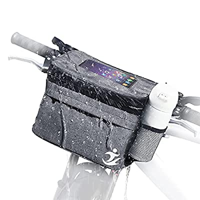 Bicycle Handlebar Bag for Bike Accessories - Waterproof Cycling Phone Holder Mount Front Bag, Bike Basket with Pocket Cold and Warm Insulation ?Bikes Storage Pouch for Cycling Men Women Outdoor-Gray