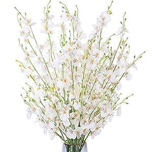 FENGRUIL 10 Pcs Artificial Orchids Flowers, 37'' Long Term Silk Flowers Arrangements Bouquet for Desktop Floor Centerpiece Home Party Bridal Wedding Decoration