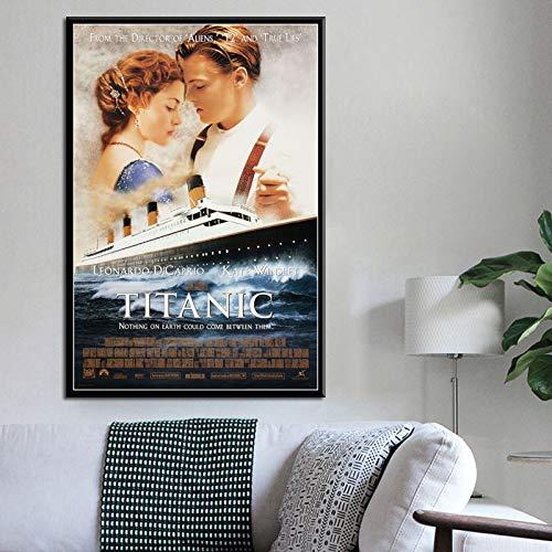 unbrand Klassische Liebe Film Charakter Titanic Klassische ölgemälde leinwand gedruckt Hochzeit Wohnzimmer Dekoration Geschenk 50X70 cm