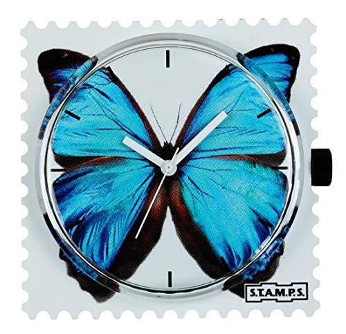 S.T.A.M.P.S. Stamps Zifferblatt Blue Butterfly mit zusätzlicher Batterie und Sticker