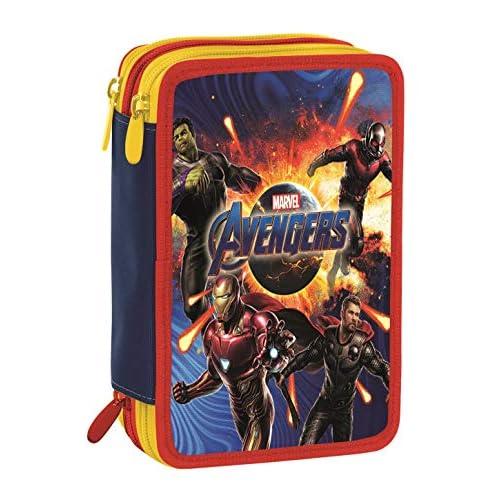 Astuccio 3 Zip Marvel Avengers, Rosso e Blu, Con materiale scolastico: 18 pennarelli e 18 pastelli Giotto, penna Tratto Cancellik …
