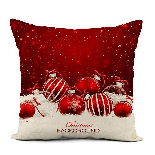 Awowee - Funda de cojín de lino, 45 x 45 cm, diseño navideño con caramelos, paleta de caramelo, paleta roja, paleta redonda en espiral, decoración del hogar, funda de almohada cuadrada para cama, sofá, Lino, Color 3, 18'x 18'