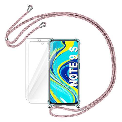 AROYI Funda con Cuerda Compatible con Xiaomi Redmi Note 9S/Note 9 Pro/Note 9 Pro Max y 2 Unidades Protector Pantalla, Carcasa Transparente TPU Silicona Case con Ajustable Correa de Cordón, Oro Rosa