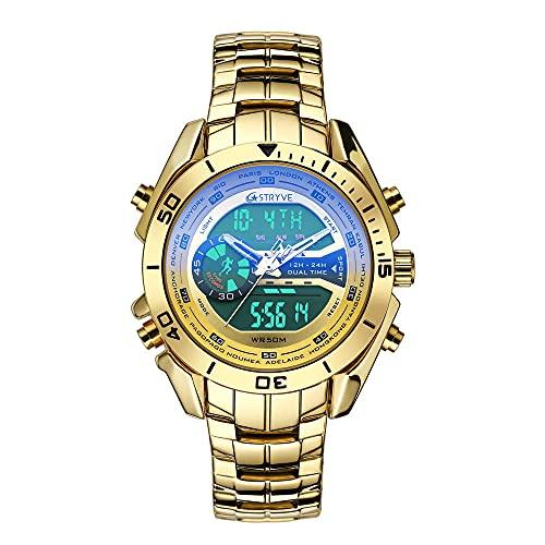 SANDA Reloj Infantil,Moda de Hombre de Acero Inoxidable con Relojes Doble Pantalla Impermeable Forma electrónica Reloj de Cuarzo Hombre-Dorado
