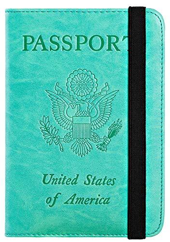 Passport Holder Cover Wallet RFID Blocking Leather Card Case Travel Document Organizer (Green)
