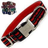 Black Rhino - Classic Striped Adjustable Dog Collar for Small Medium Large Breeds | 3m Reflective Threading | 4 Bright Colors - Matching Leashes Sold Separately (Red Striped, Large)