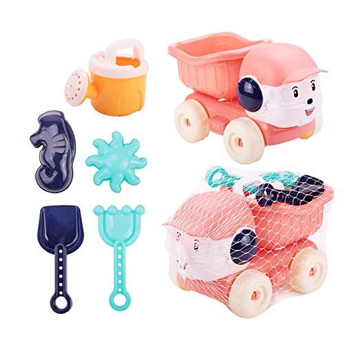 Chilits Beach Sand Toy Childrens Toy, 6 Pieces Childrens Sand Play Set, Summer Bath Toy, Sandpit Toy Outdoor Toy Kit for Children, Garden Toy for Children Toy Boys Girls - Rosa