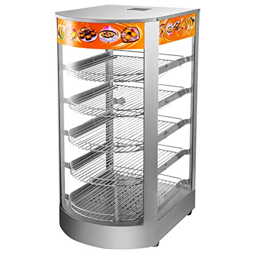 VEVOR 110V 14.2-Inch Commercial Food Warmer Display, 5-Tier 800W Electric Pizza Warmer Display 86-185℉,Tempered-Glass Door Pastry Display Case, Restaurant Heated Cabinet, with 1 Trays & 1 Bread Tong