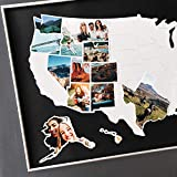 USA Photo Map - 50 States Travel Map - 24 x 36 in - Unframed - Made from Flexible Plastic - Includes Photo Maker - Black