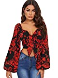Romwe Women's Floral Print Lantern Long Sleeve Sweetheart Tie Knot Front Shirred Crop Blouse Tops Red Medium