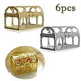 iSuperb Caja de dulces del Almacenamiento Cofre del Tesoro Mini Cajas de Regalo de Boda Decorativa Candy Boxes Transparente para Navidad Cumpleaños Banquete Joyas (Oro/Plata)