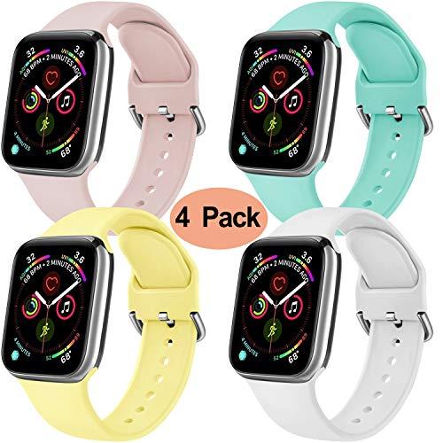 Yandu - Confezione da 4 cinturini di ricambio per Apple Watch, 38 mm, 42 mm, 40 mm, 44 mm, in morbido silicone, compatibili con iWatch Series 5, 4, 3, 2, 1